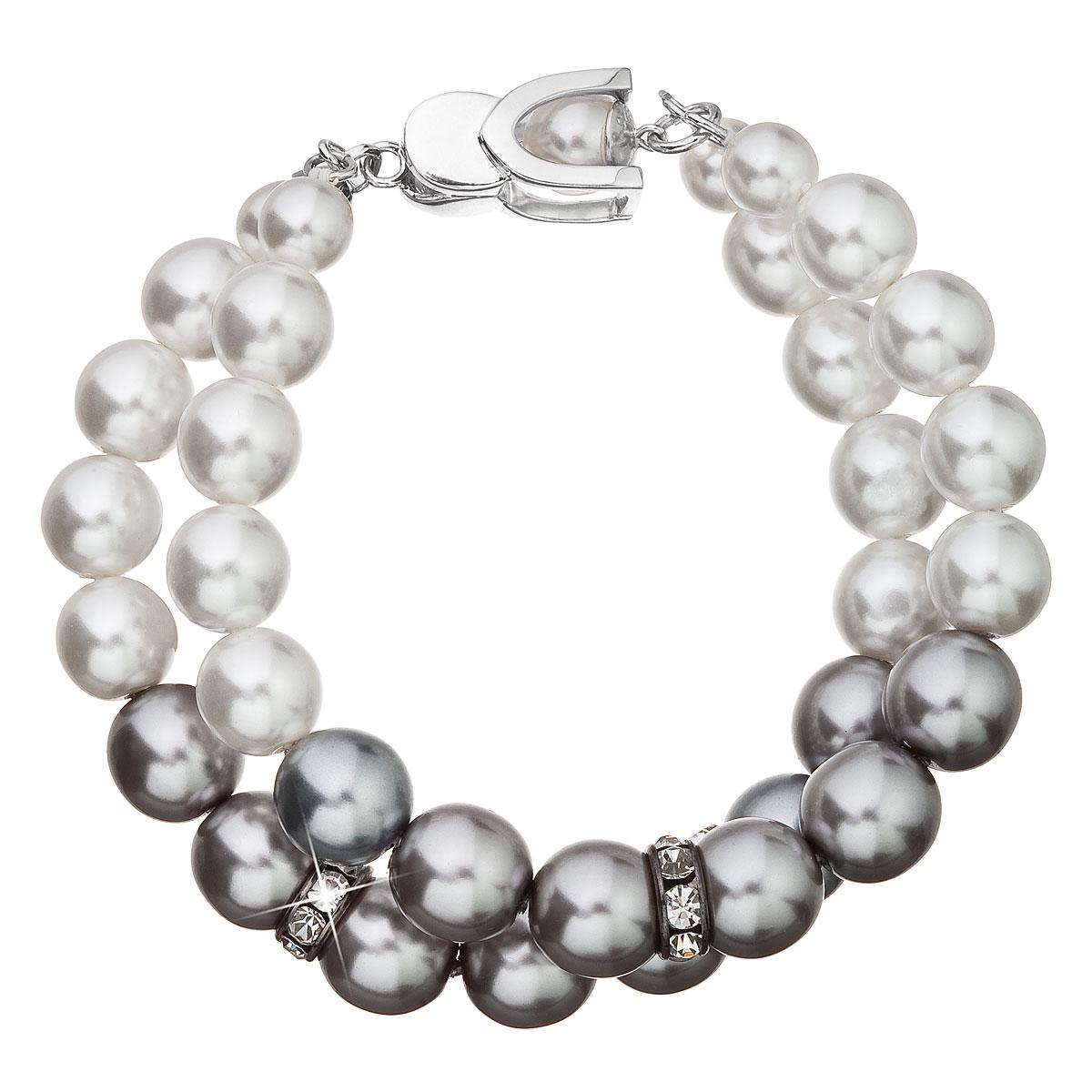 Perlový náramok bielo-šedý