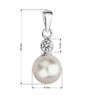Stříbrný přívěšek s bílou perlou Crystals from Swarovski®