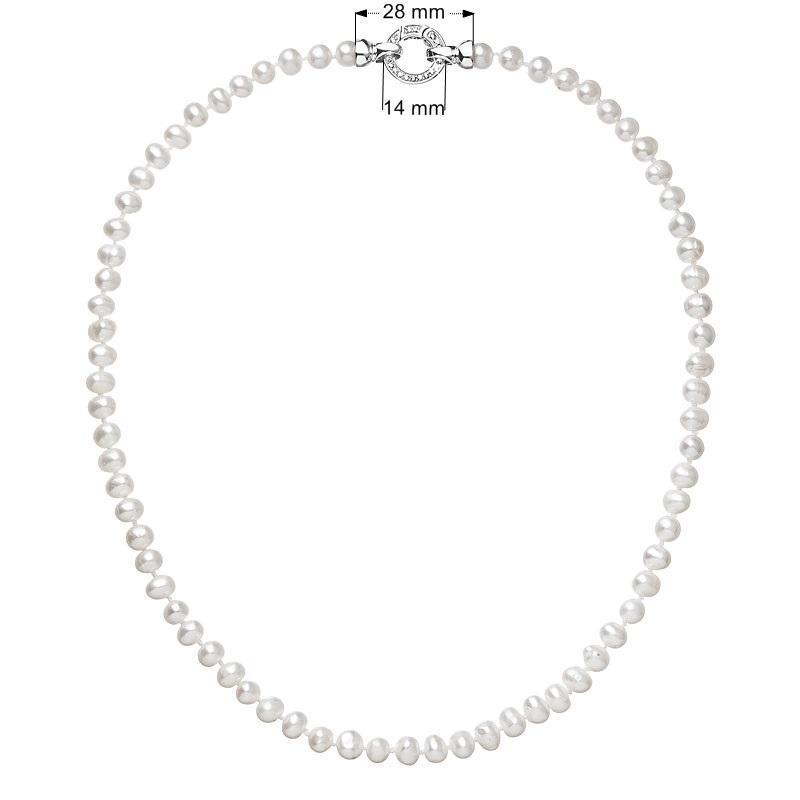 Perlový náhrdelník z pravých říčních perel bílý EG4206