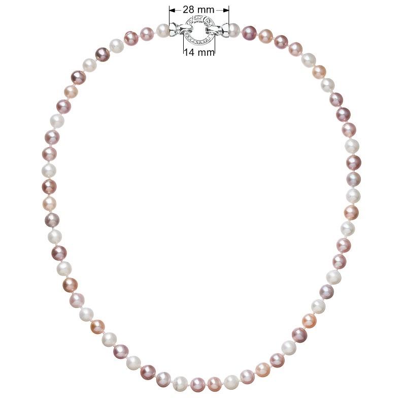 Perlový náhrdelník z pravých říčních perel mix barev