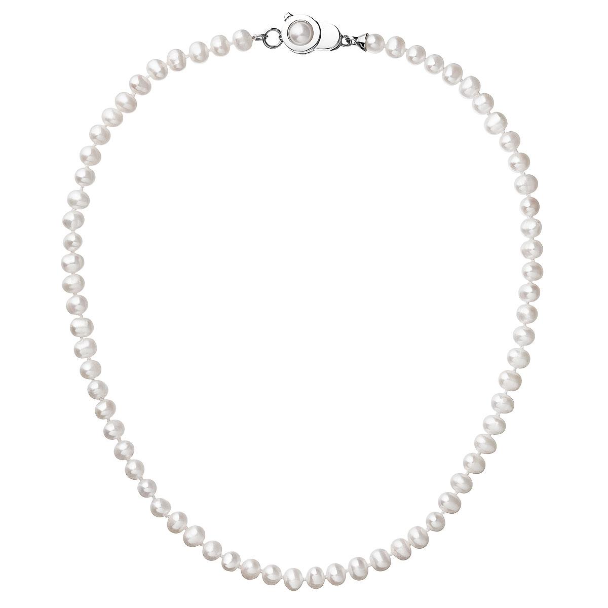 Perlový náhrdelník z pravých říčních perel bílý EG4204