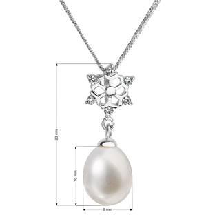 Stříbrný náhrdelník s přívěškem a říční perlou