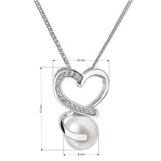 Perlový náhrdelník s řetízkem z pravých říčních perel bílý