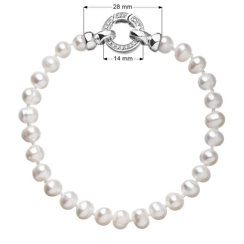 Perlový náramek z pravých říčních perel bílý EG7100