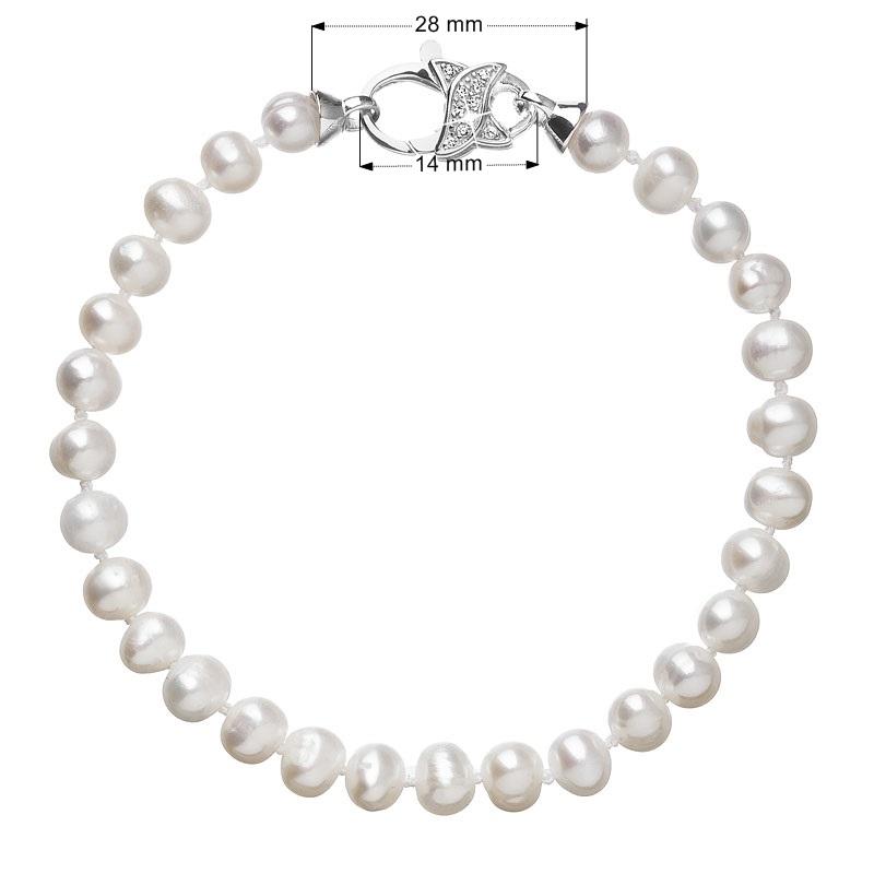 Perlový náramek z pravých říčních perel bílý EG7101