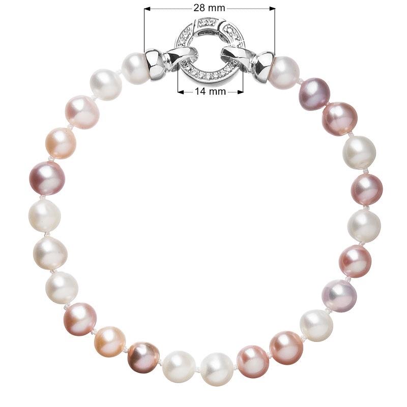 Perlový náramek z pravých říčních perel mix barev EG7106