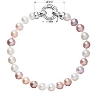 Perlový náramek z pravých říčních perel mix barev