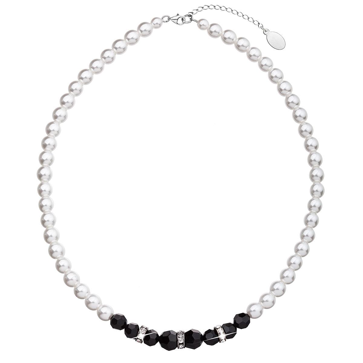 Perlový náhrdelník čierno biely