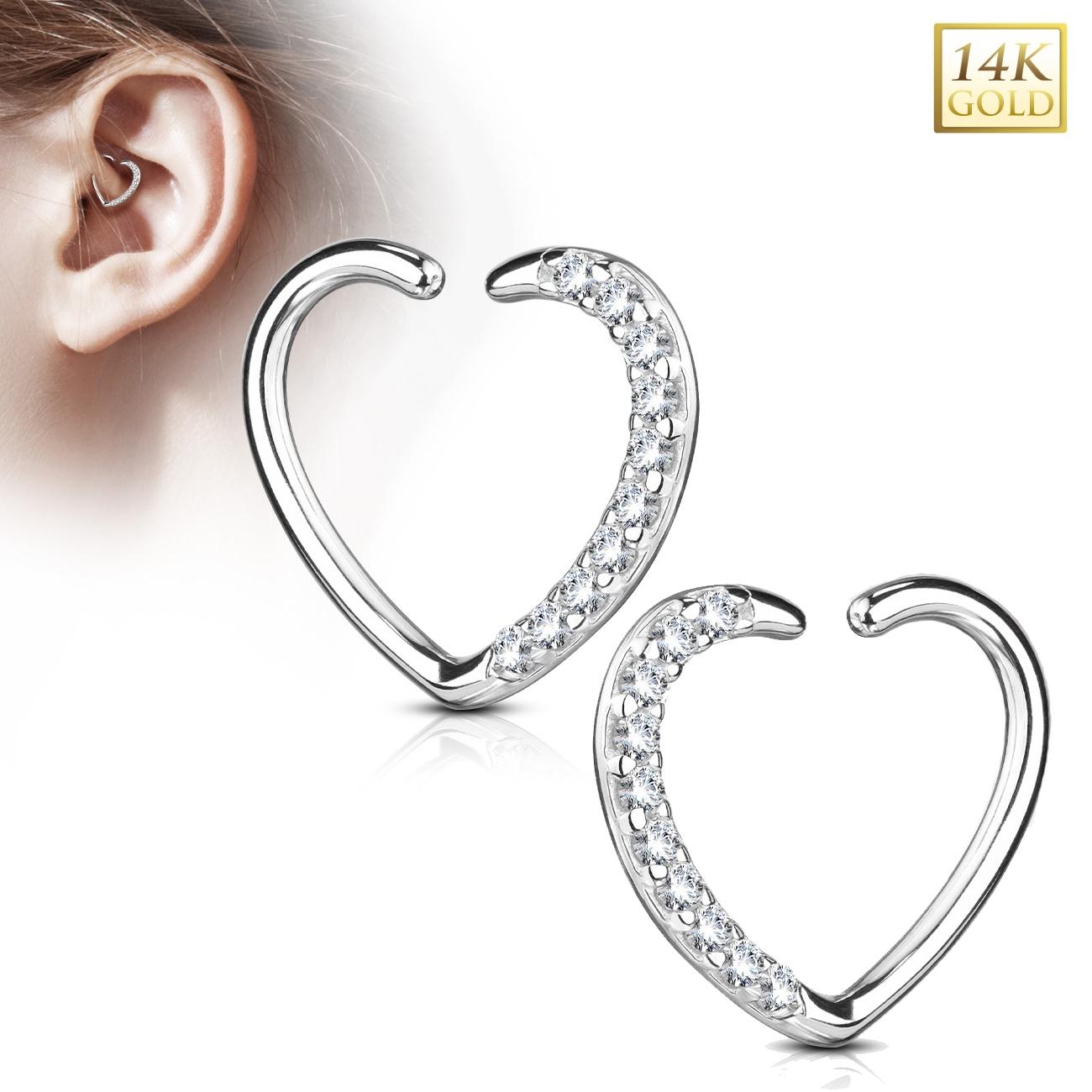 Zlatý cartilage piercing do ucha - srdíčko, Au 585/1000 ZL01181L-WG