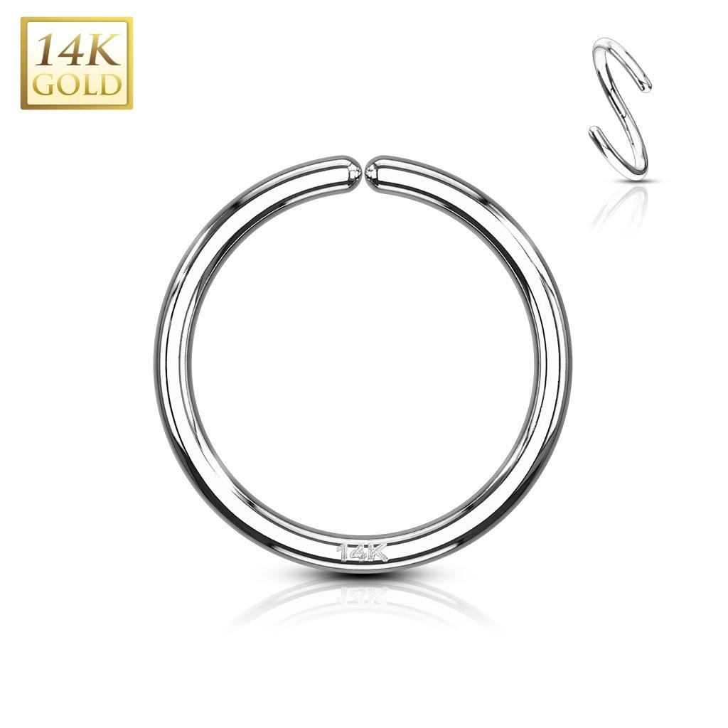 Zlatý piercing - kruh, 0,8 x 8 mm, Au 585/1000