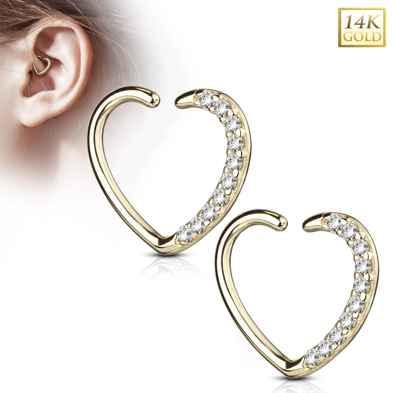 Zlatý cartilage piercing do ucha - srdíčko, Au 585/1000 ZL01181L-YG