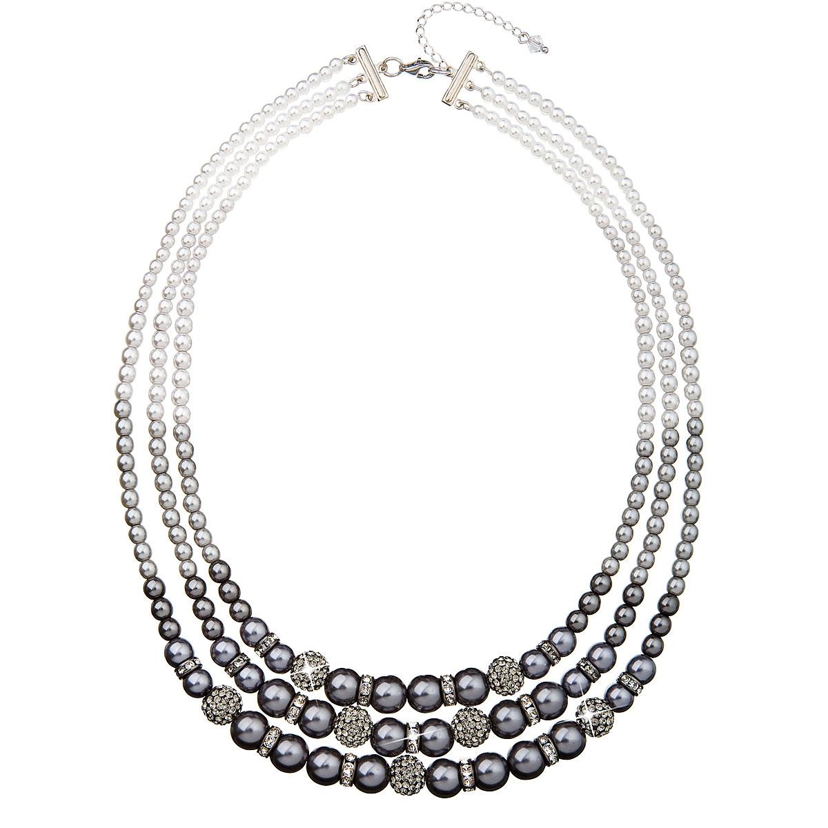 Perlový náhrdelník šedý