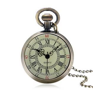 Kapesní hodinky s řetízkem mosazné
