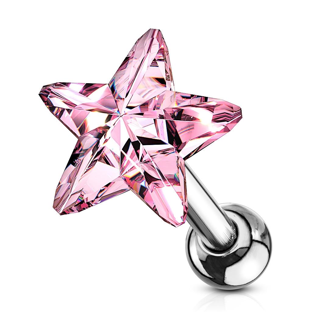 Cartilage piercing do ucha - hviezdička, farba ružová