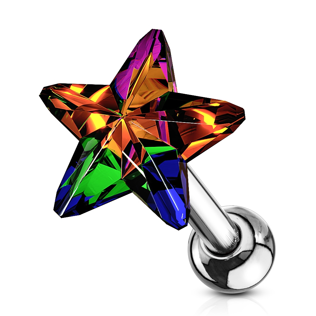 Cartilage piercing do ucha - hviezdička, farba Vitrail Light