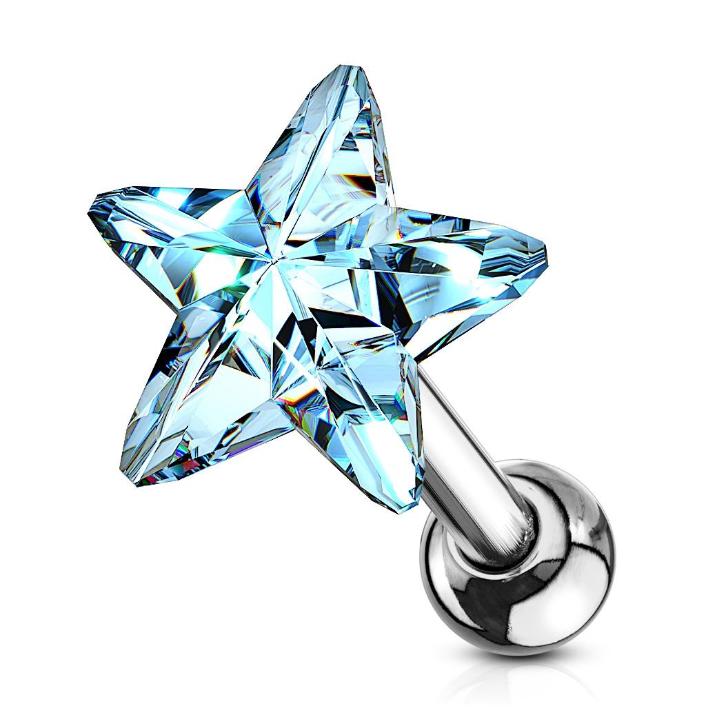 Cartilage piercing do ucha - hviezdička, farba svetlo modrá