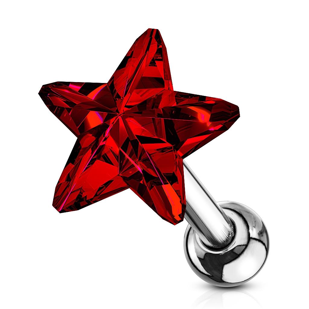 Cartilage piercing do ucha - hviezdička, farba červená
