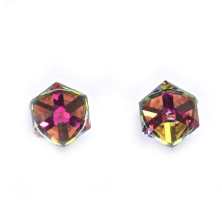 Stříbrné náušnice s kostkami Crystals from SWAROVSKI®, Vitrail Medium