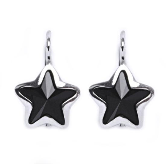 Stříbrné náušnice s hvězdami Crystals from SWAROVSKI®, Black Jet CS5617-BJ
