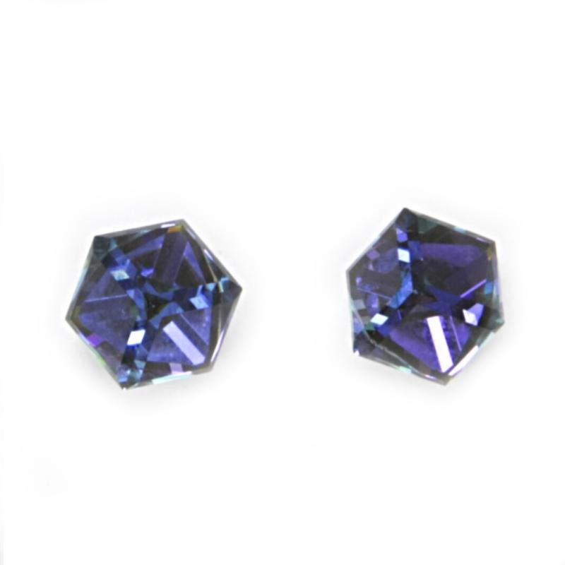 Stříbrné náušnice s kostkami Crystals from SWAROVSKI®, Heliotrop