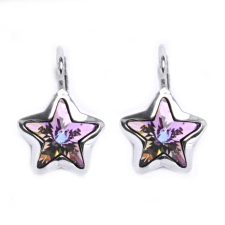 Stříbrné náušnice s hvězdami Crystals from SWAROVSKI®, Vitrail Light CS5617-VL