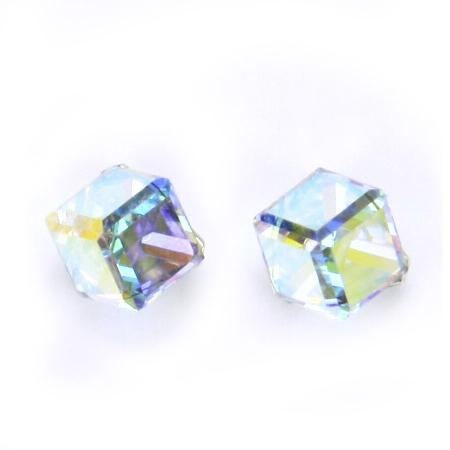 Stříbrné náušnice s kostkami Crystals from SWAROVSKI®, Crystal AB