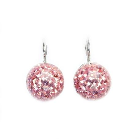 Stříbrné náušnice kuličky, růžové kamínky CS5616-RO