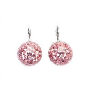 CS5616-RO Stříbrné náušnice kuličky, růžové kamínky