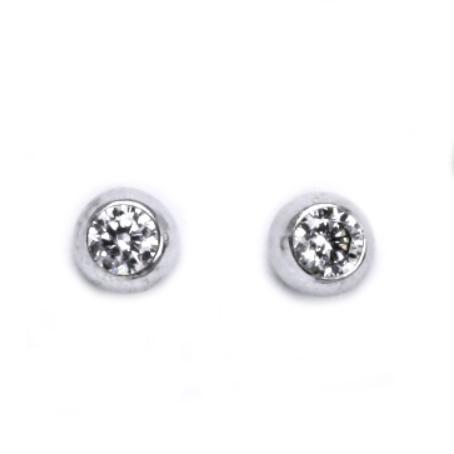 Stříbrné šroubovací náušnice se zirkony CS5621