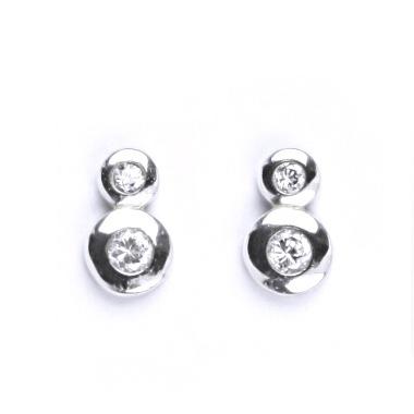 Stříbrné šroubovací náušnice se 2ma zirkony CS5623