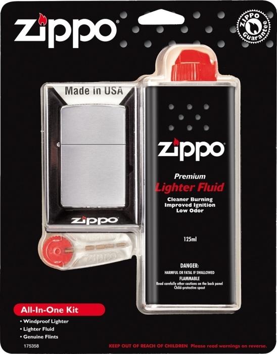 ZIPPO dárková sada zapalovač broušený + benzín + kamínky 30035