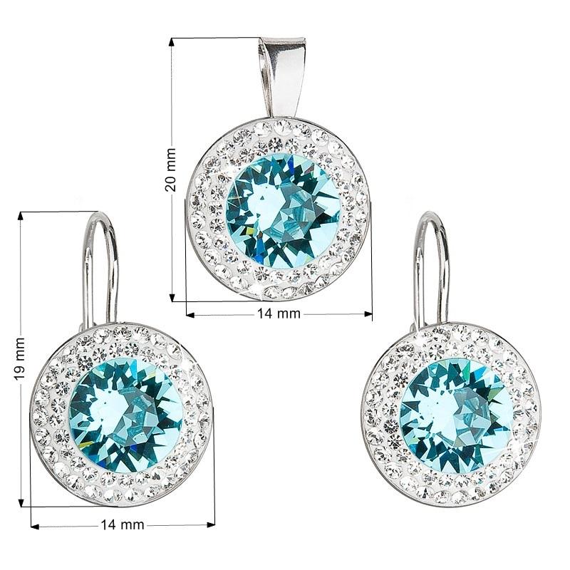 Sada náušnic a přívěšku s kameny Crystals from Swarovski® Aquamarie