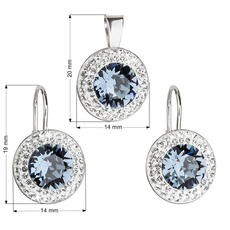 Sada náušnic a přívěšku s kameny Crystals from Swarovski® Denim Blue