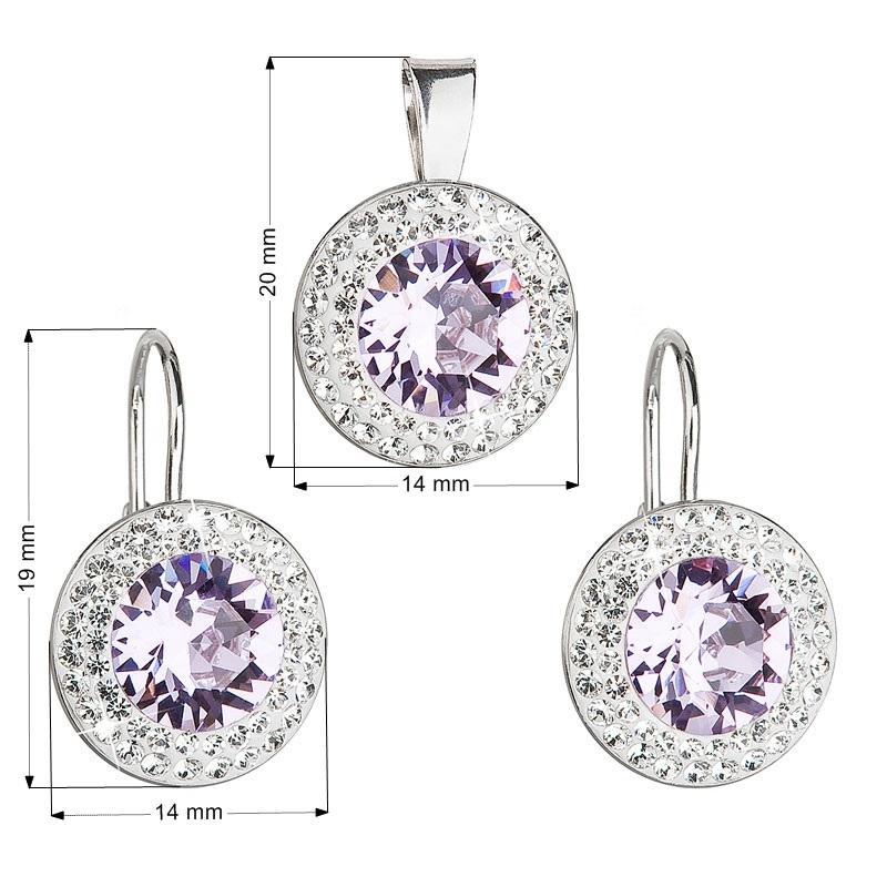 Sada náušnic a přívěšku s kameny Crystals from Swarovski® Violet