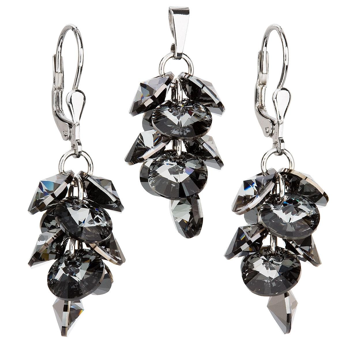 Sada šperků - hrozen se šedými kameny Crystals from Swarovski® EG3038-GR