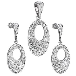 EVOLUTION GROUP CZ Sada stříbrných šperků ovál Crystals from Swarovski® Crystal - 39075.1