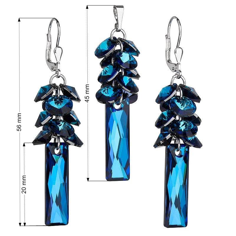 Sada stříbrných šperků Crystals from Swarovski® Bermuda Blue