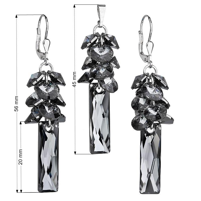 Sada stříbrných šperků Crystals from Swarovski® Grey