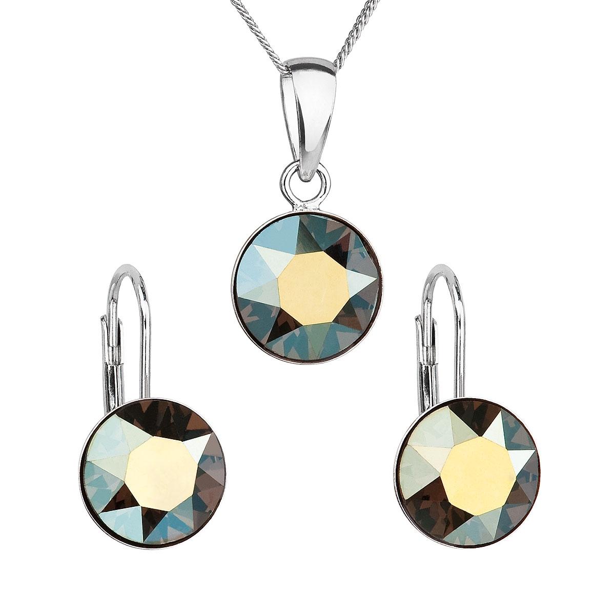 Sada stříbrných šperků s kameny Crystals from Swarovski® Green EG3054-GR
