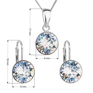EVOLUTION GROUP CZ Sada stříbrných šperků s kameny Crystals from Swarovski® White Patina - 39140.5