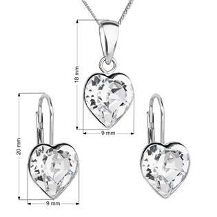 EVOLUTION GROUP CZ Sada stříbrných šperků se srdíčky Crystals from Swarovski® Crystal - 39141.1