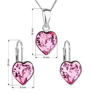 EVOLUTION GROUP CZ Sada stříbrných šperků se srdíčky Crystals from Swarovski® Rose - 39141.3