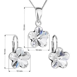 EVOLUTION GROUP CZ Sada stříbrných šperků s kytičkami Crystals from Swarovski® Crystal - 39143.1