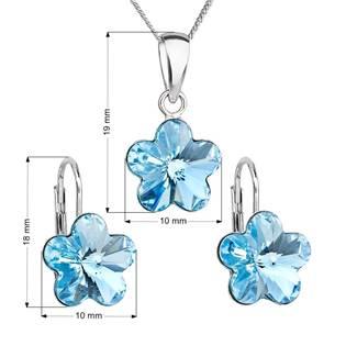 EVOLUTION GROUP CZ Sada stříbrných šperků s kytičkami Crystals from Swarovski® Aqua - 39143.3