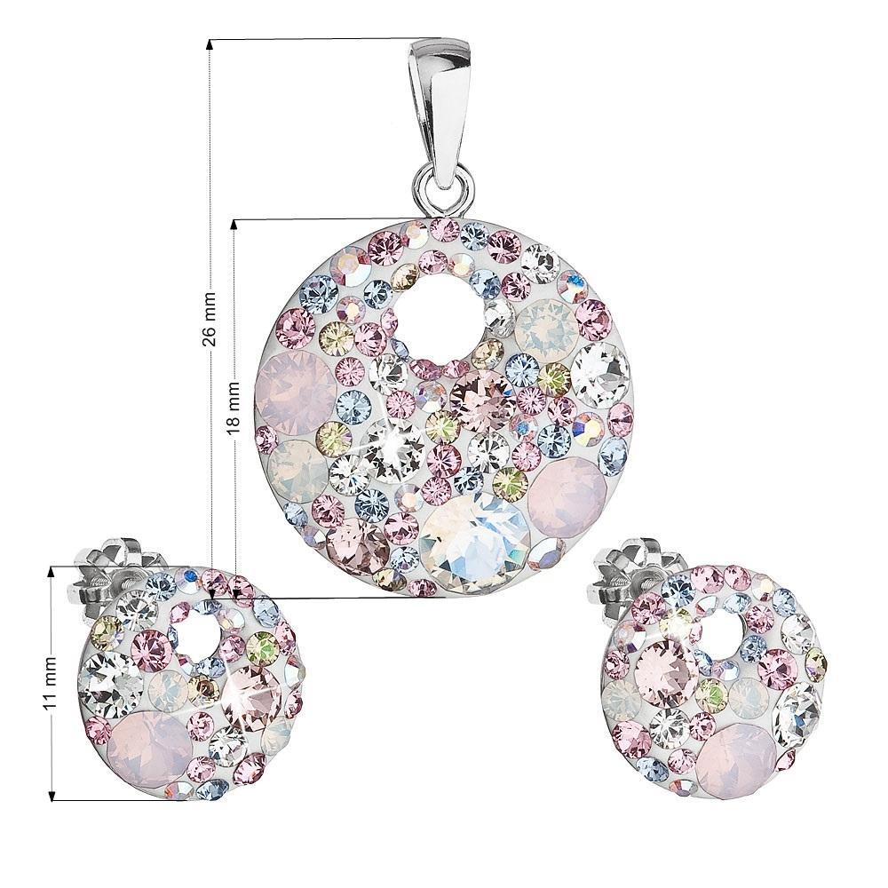 Sada náušníc a prívesku s kamienkami Crystals from Swarovski ® Magic Rose