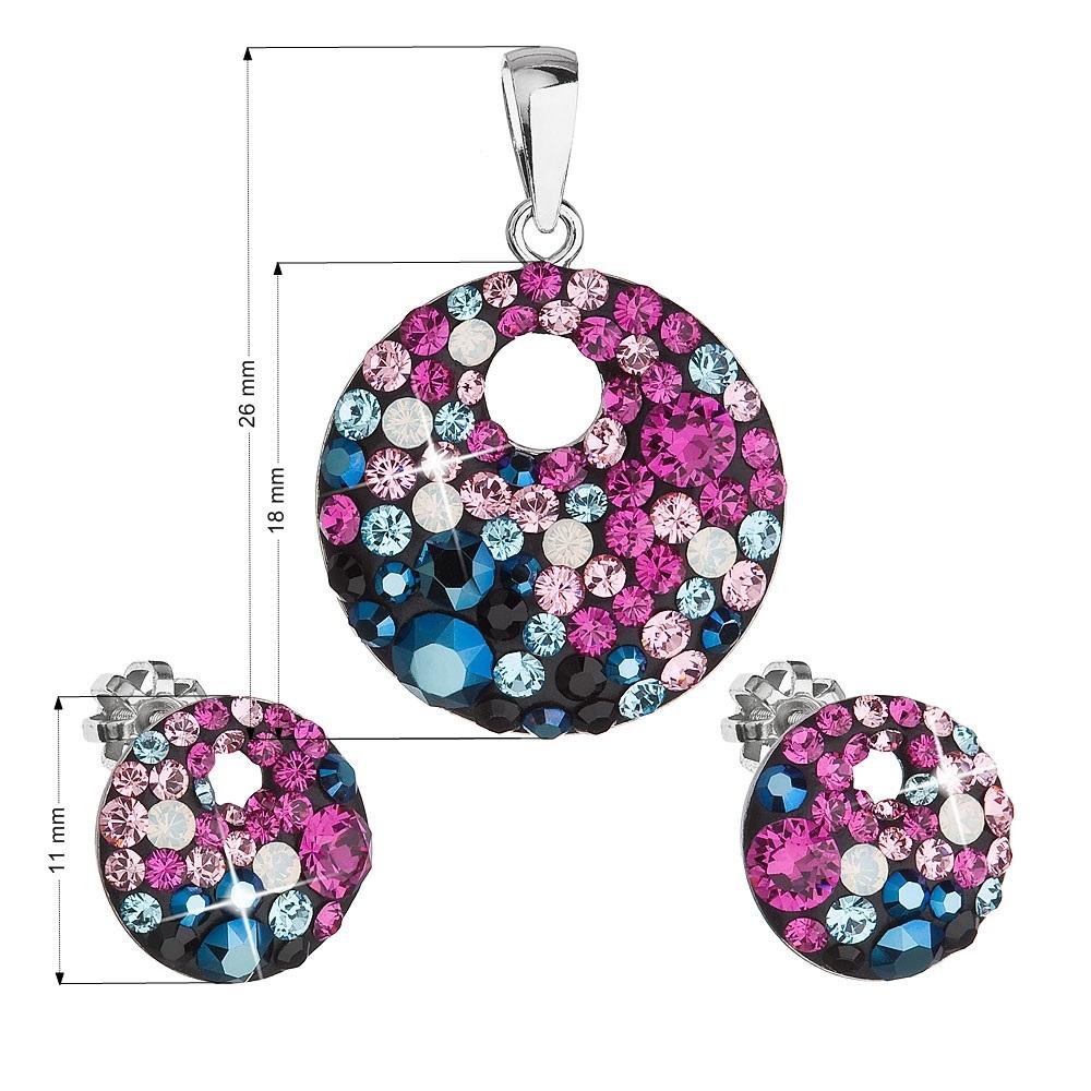 Sada náušníc a prívesku s kamienkami Crystals from Swarovski ® Galaxy