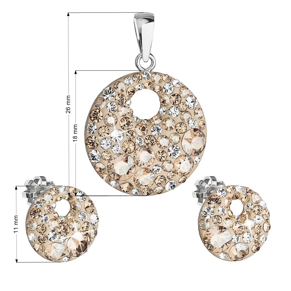 Sada náušníc a prívesku s kamienkami Crystals from Swarovski ® Gold