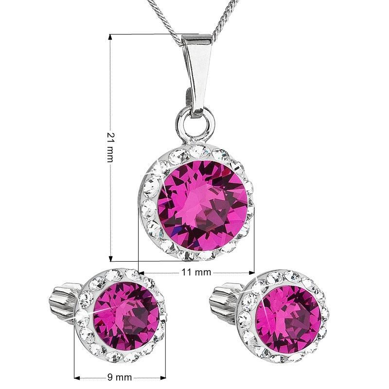 Sada náušníc a prívesku s kamienkami Crystals from Swarovski ® Fuchsia