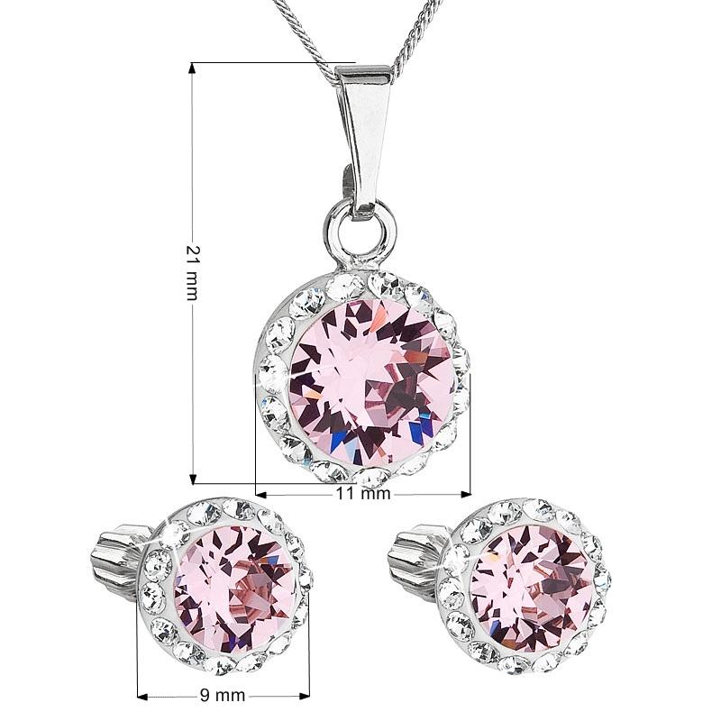 Sada náušníc a prívesku s kamienkami Crystals from Swarovski ® Rose