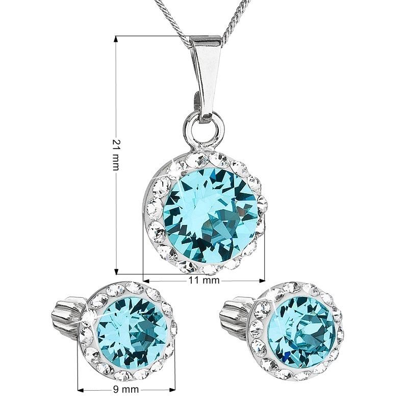 Sada náušníc a prívesku s kamienkami Crystals from Swarovski ® Aquamarine